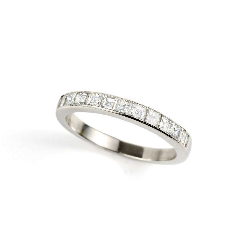 18k White Gold Princess & Carre Cut Diamond Half Eternity 0.30ct Total, G/H Colour, SI Clarity,